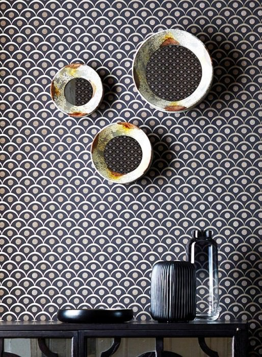 Wallpaper Merkur Shimmering pattern Matt base surface Graphic elements Black grey Pearl beige