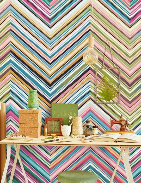 Wallpaper Coppola Matt Zigzag Shades of blue Shades of green Orange Rose Black