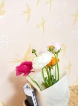 Wallpaper Follow the wind Hand printed look Matt Birds Pale pink Cream Honey yellow