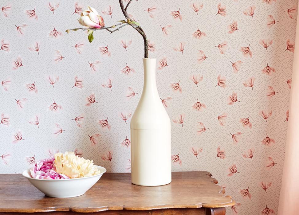 Wallpaper Arletta Matt Blossoms Dots Cream Beige red Grey beige Light pink Red brown
