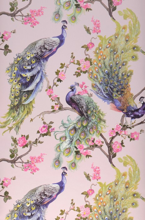 Wallpaper Maribor Matt Peacocks Branches with leaves and blossoms Pale pink Beige grey Shades of green Orange Rose Violet