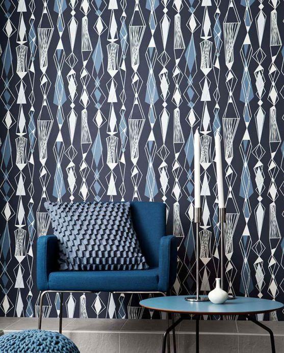 Archiv Wallpaper Lodur light grey blue Room View