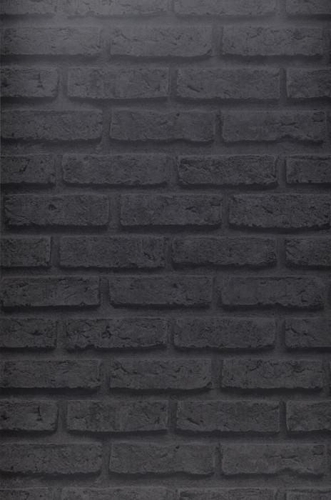 Papier peint City Brick Mat Briques Gris foncé Gris noir