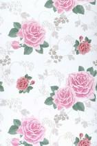 Wallpaper Isotta Matt Roses White Pale red violet Dark green Red