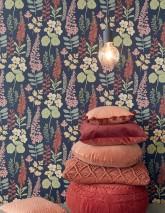 Wallpaper Luzie Matt Leaves Flowers Dark blue Pale green Ivory Light pink Red brown