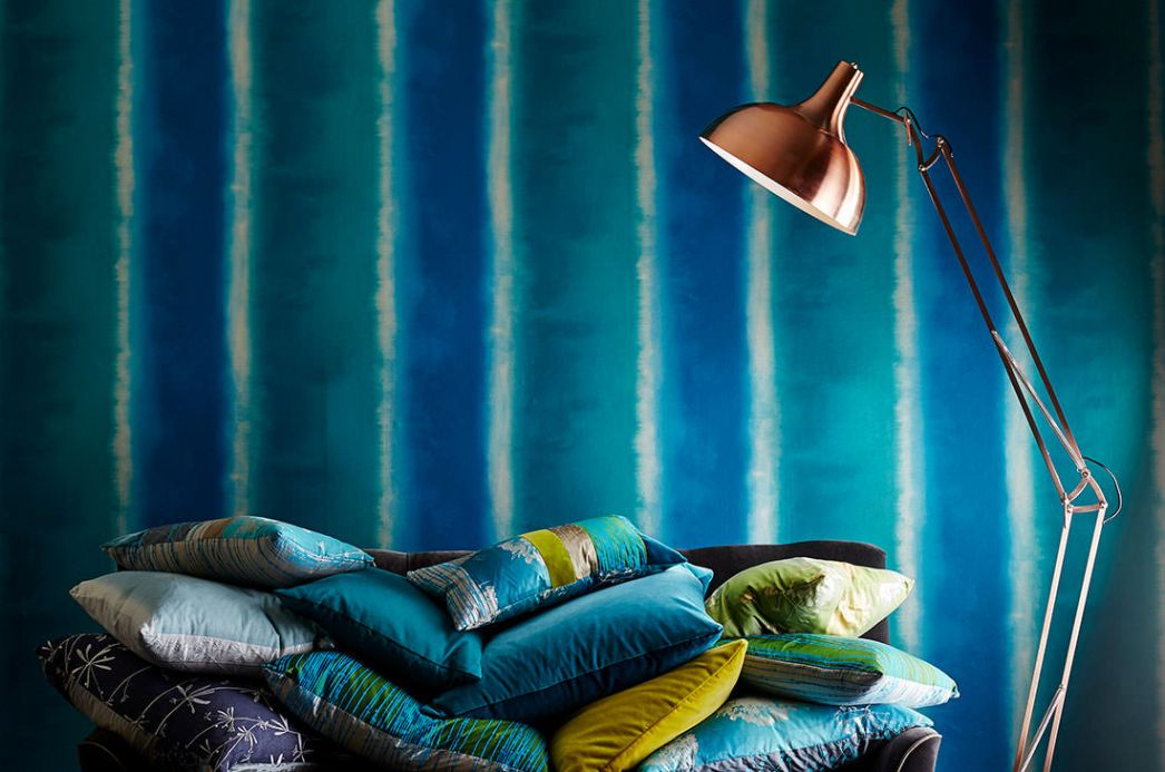 Striped Wallpaper Wallpaper Riconas ocean blue Room View
