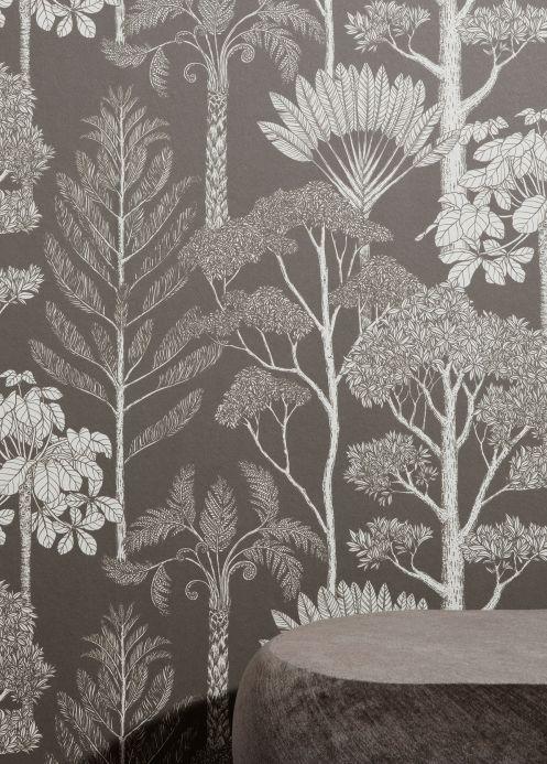 Papel de parede moderno Papel de parede Trees cinza bege Ver quarto