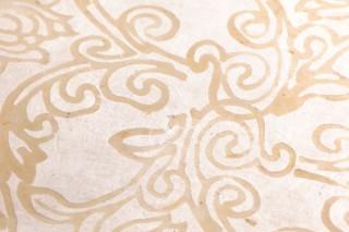 Tapete Laksmi Batik-Stil Handdruck Matt Shabby Chic Florale Ornamente Beige Cremeweiss