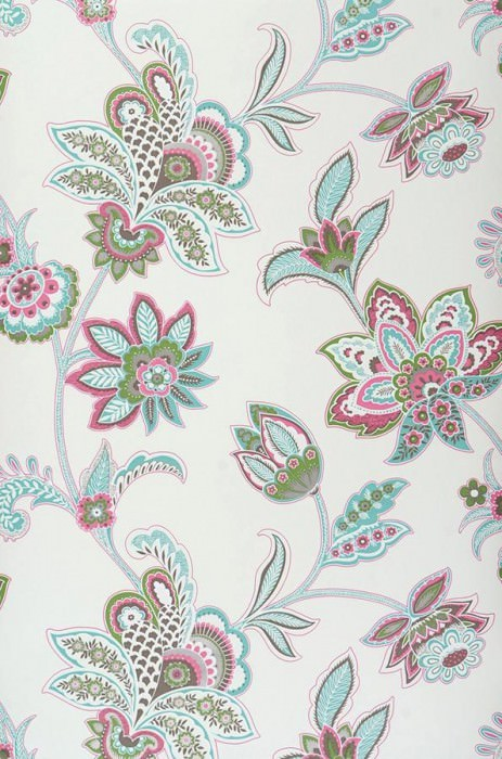 Wallpaper Marcia Matt Stylised flowers Cream Grey brown Green Pink Turquoise