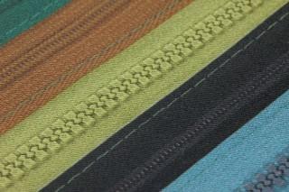 Papier peint Zipper Mat Aspect textile Fermeture éclair Bleu gentiane Violet bruyère Orange saumon Brun ocre Vert turquoise