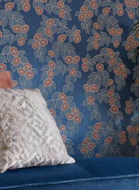 Papier peint Sahira bleu chatoyant Vue pièce