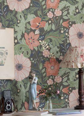 Papel pintado Smilla marrón grisáceo Raumansicht