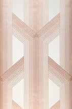 Wallpaper Nama Shimmering pattern Matt base surface Graphic elements Stripes Cream Rosewood shimmer