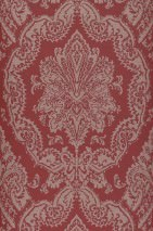 Wallpaper Heigold Matt Looks like textile Baroque damask Ruby red Rosewood glitter