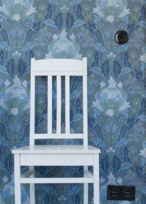 Classic Wallpaper Wallpaper Denisa blue grey Room View