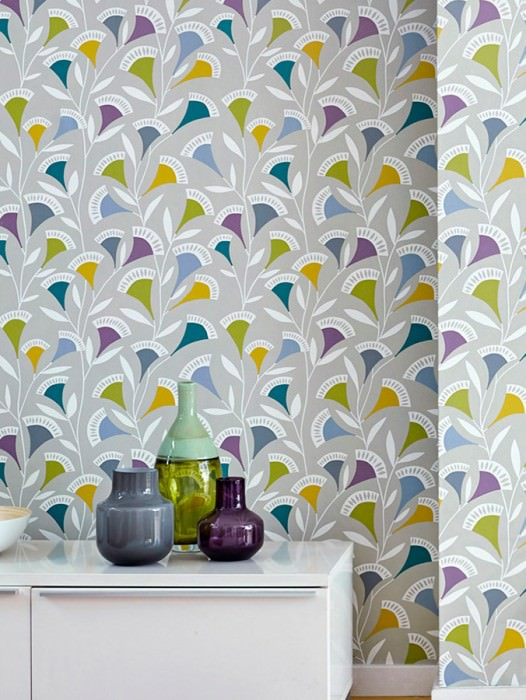 Wallpaper Ambira Matt Stylised Flower Tendrils Light olive grey Fern green Gorze yellow  Violet Water blue White