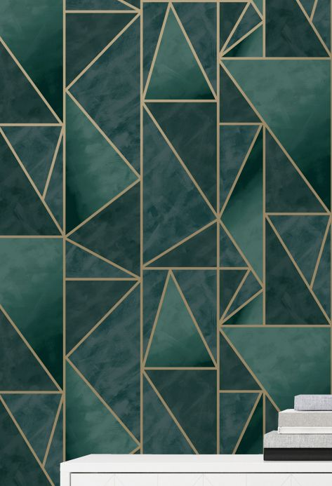 Geometric Wallpaper Wallpaper Fantasque dark green Room View