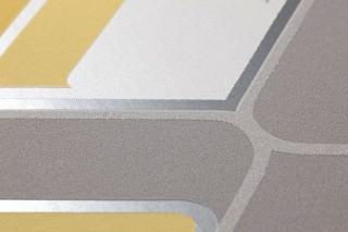 Papier peint Corona Mat Éléments rétro Blanc crème Jaune Gris Gris clair pailleté Argenté brillant