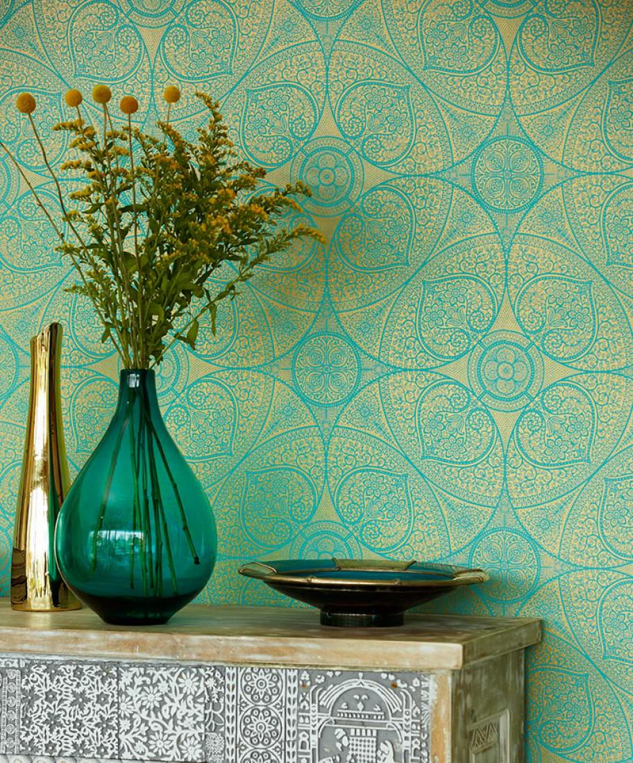 turquoise and gold removable wallpaper