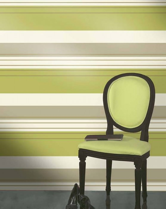 Wallpaper Jaden Shimmering pattern Matt base surface Stripes Cream Yellow green Gold shimmer