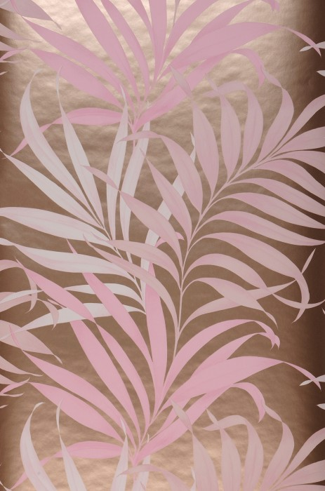Wallpaper Paradiso Matt pattern Shimmering base surface Leaves Gold shimmer Pale pink Light pink Pinkish white