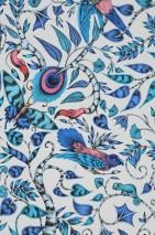 Wallpaper Rubi Matt Leaf tendrils Birds White Shades of blue Light grey Rose Black