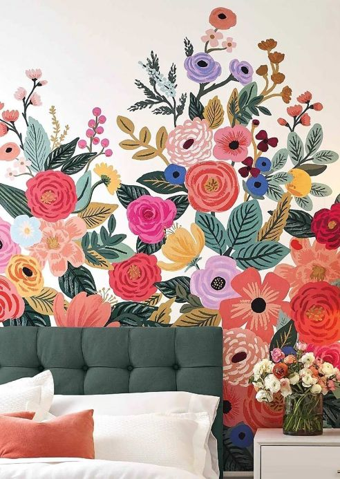 Glass bead Wallpaper Wall mural Flower Garden rose Room View