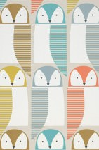 Wallpaper Eledra Matt Owls Grey white Curry yellow Green brown Salmon red Turquoise blue