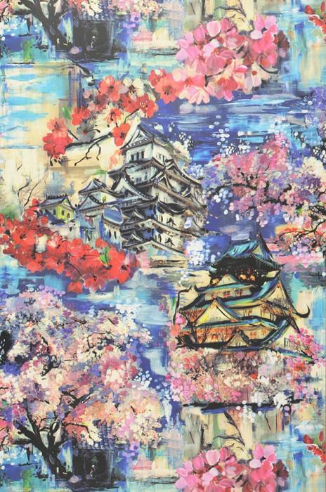 Wallpaper Kavakul Matt Trees Blossoms Buildings Beige Blue Rose Red Black Violet