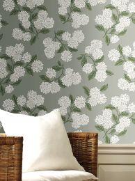 Wallpaper Hydrangea grey