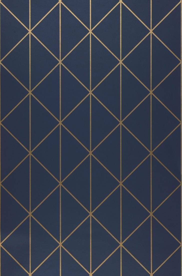 Papier Peint Bleu Et Or.Biloba