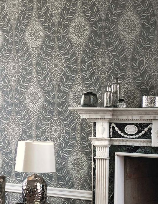 Archiv Wallpaper Moron silky grey Room View