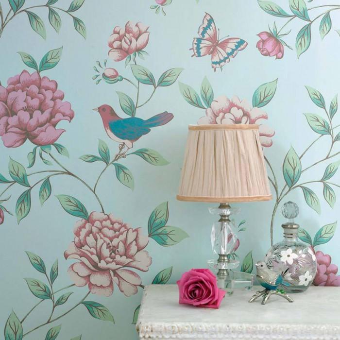 Papel de parede Adalina Mate Flores Borboletas Pássaros Turquesa pastel Verde claro Rosa claro Violeta avermelhado