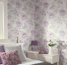 Wallpaper Charlaise Matt Flowers Grey white Light grey Pastel violet Violet