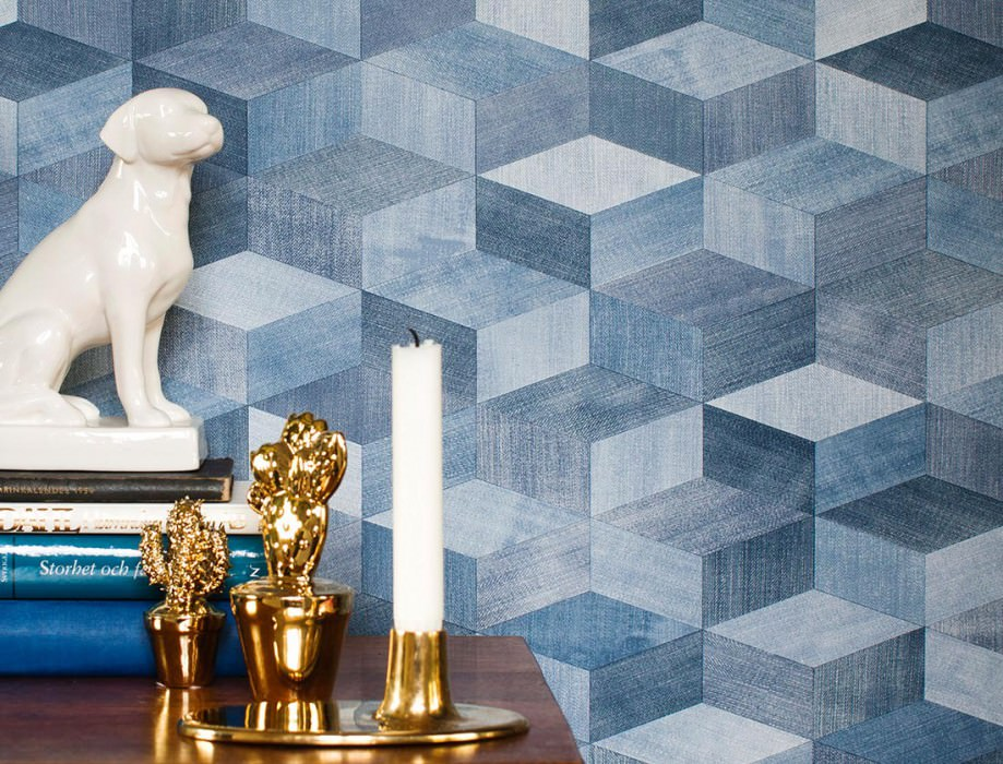 Wallpaper Karlo Matt Looks like textile Graphic elements Shades of blue