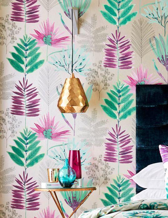 Papier peint floral Papier peint Hilma violet Vue pièce