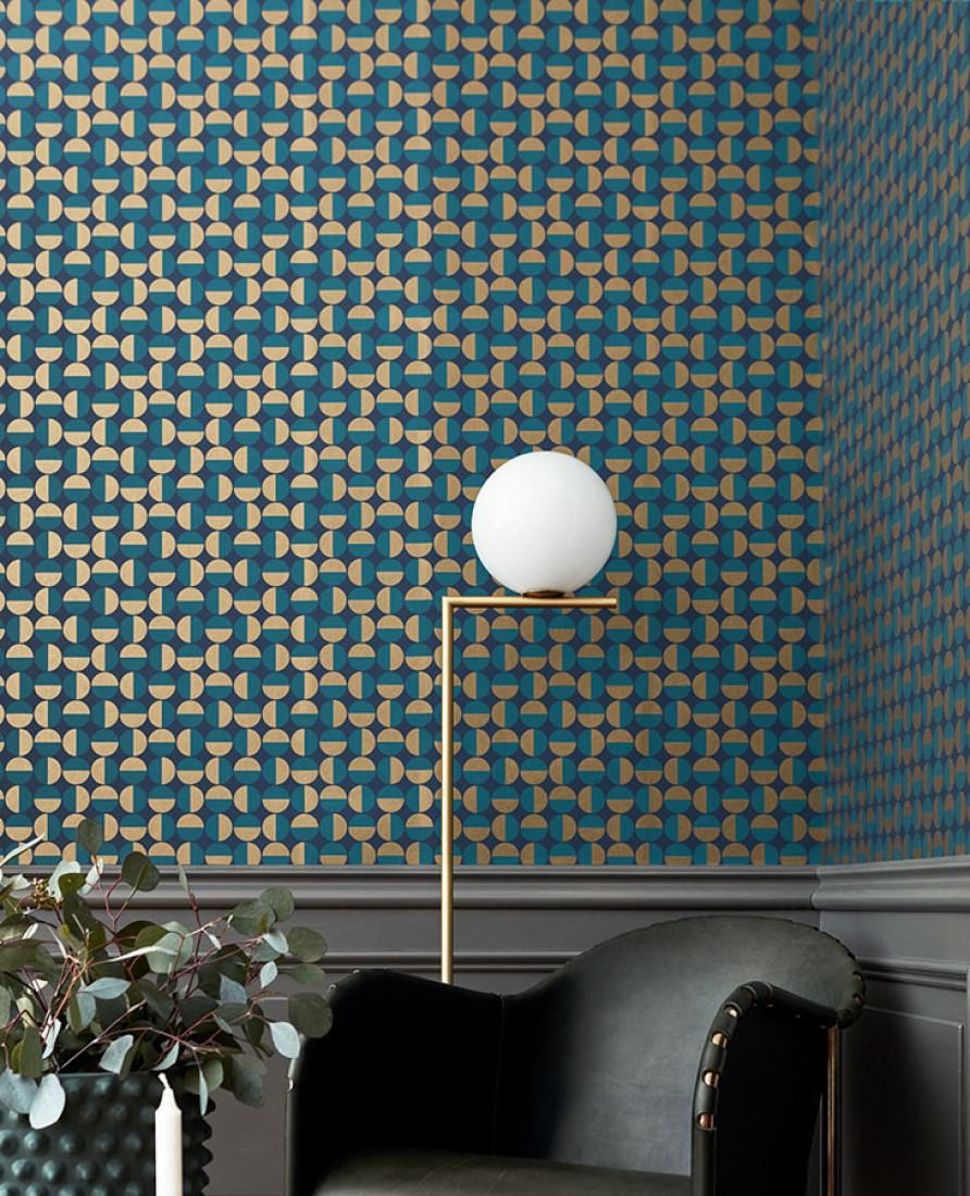 tapete wahida graublau perlgold wasserblau tapeten der 70er. Black Bedroom Furniture Sets. Home Design Ideas