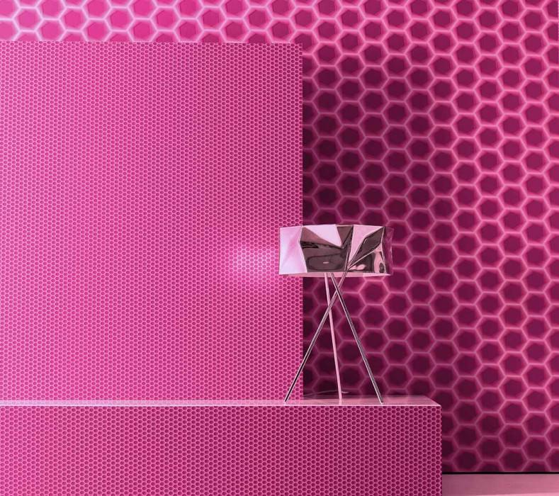 Wallpaper Bindi Matt Hexagons Crimson Pale violet Heather violet Red