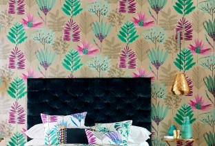 Wallpaper Hilma Matt pattern Shimmering base surface Leaves Pearl beige Dark grey Light green Magenta Pastel green Violet