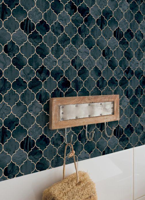 Papel de parede geométrico Papel de parede Taman azul oceano Ver ambiente