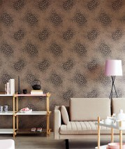 Wallpaper Stopela Matt pattern Shimmering base surface Blossoms Grey brown Dark grey brown Silver shimmer