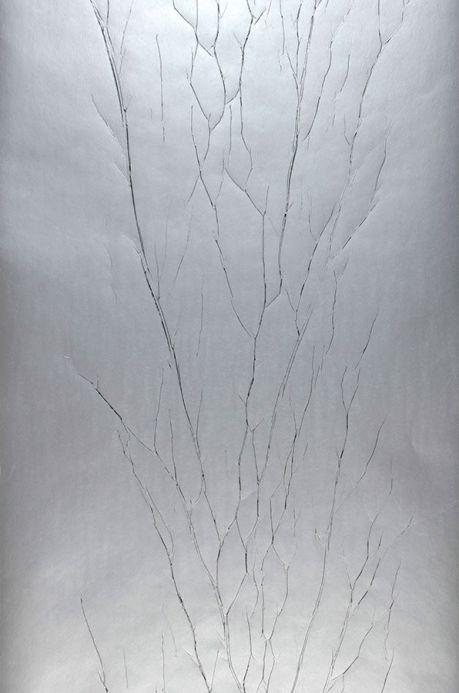 Papier peint effet froissé Papier peint Crush Tree 04 gris argent Largeur de lé