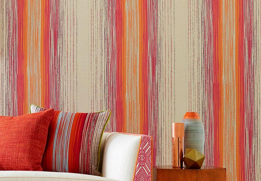 Wallpaper Artenas Matt Stripes Light ivory Lila Orange Pearl beige Red violet