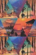 Wallpaper Covella Matt Mountains Triangles Palm trees Beach Blue Brown Red orange Black Turquoise