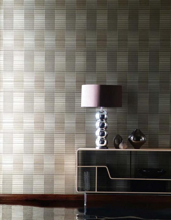 Wallpaper Oshun Metallic effect Stripes White gold lustre Brown Dark grey beige Black