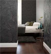 Wallpaper Telamon Shimmering Baroque elements Black grey Anthracite Silver