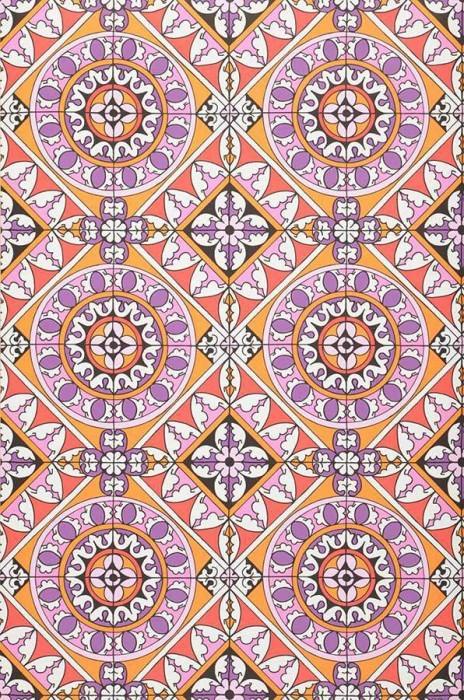 Papel pintado Borromeo Mate Motivo cerámica oriental Naranja Rosa Rojo Violeta Blanco