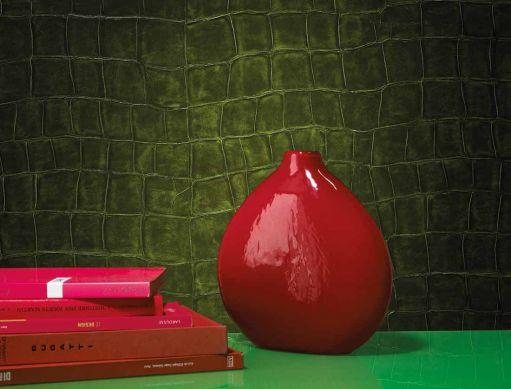 Papier peint Croco 05 vert foncé Vue pièce