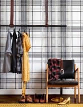 Wallpaper Sanna Matt Plaid White Anthracite grey Grey Black