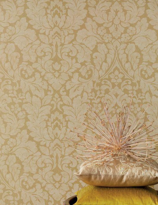 Papel de parede damasco Papel de parede Lumina ouro brilhante Ver quarto